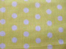 Yellow with 20mm White Spot Polyotton Fabric